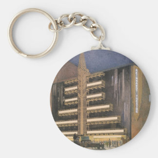 Vintage Art Deco Architecture, Building in NYC Keychain