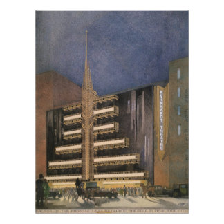 Vintage Art Deco Architecture, Building in NYC Poster