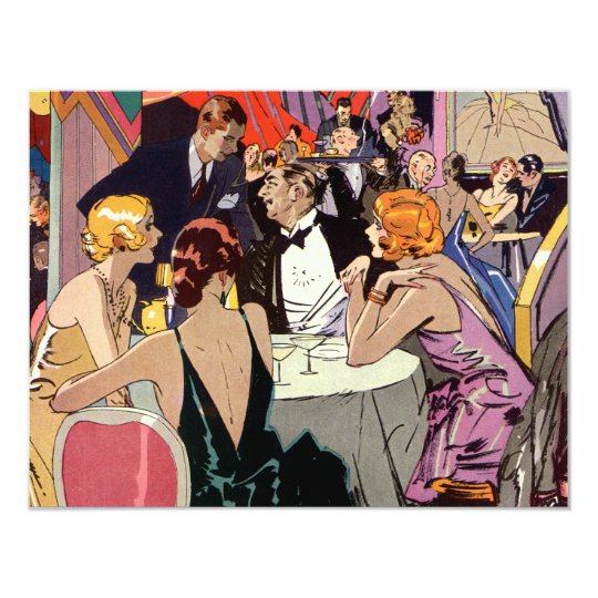 Vintage Art Deco Bar, Cocktail Party Invitation