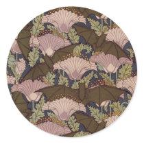 Vintage Art Deco Bat and Flowers Classic Round Sticker