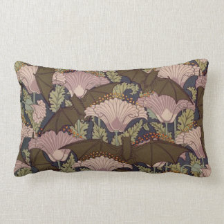 Vintage Art Deco Bat and Flowers Lumbar Pillow