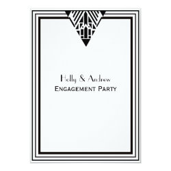 Vintage Art Deco Black White Frame #1 V Engagement Card