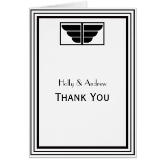 Vintage Art Deco Black White Frame #2 V Thank You Card