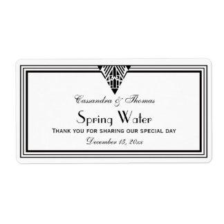 Vintage Art Deco Black Wht Frame #1 H Water Bottle Label