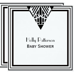 Vintage Art Deco Black Wht Frame #1 SQ Baby Shower Invitation