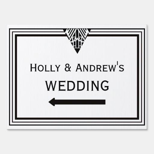 Vintage Art Deco Blk Wht Frame #1 Wedding Sign Med