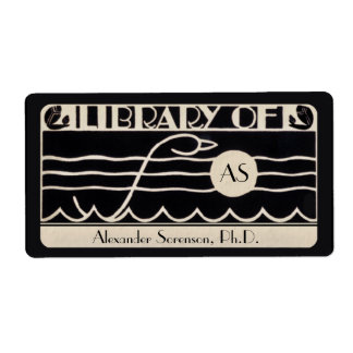 Vintage Art Deco Bookplate Personalized Monogram Shipping Label