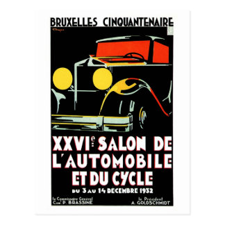 Vintage art deco Brussels auto salon Postcard