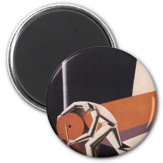 Vintage Art Deco Business, Fabrics and Textiles 2 Inch Round Magnet