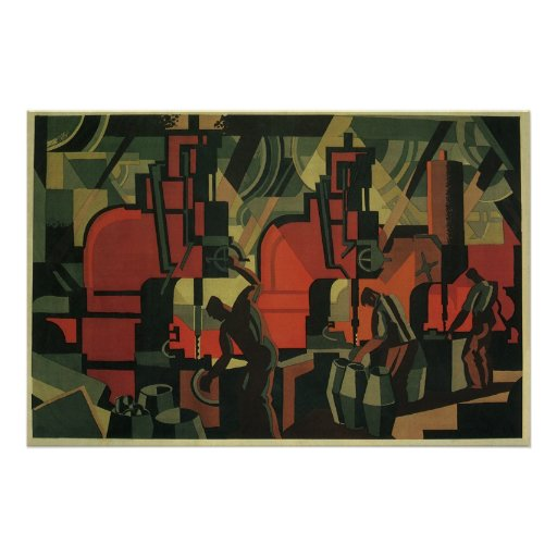 vintage art deco business industrial manufacturing poster zazzle. Black Bedroom Furniture Sets. Home Design Ideas