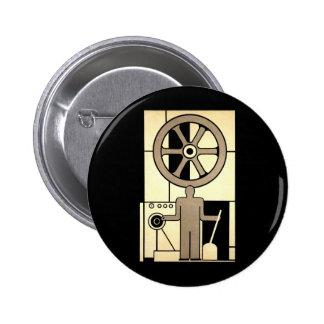 Vintage Art Deco Business, Machine Worker Wheels Button