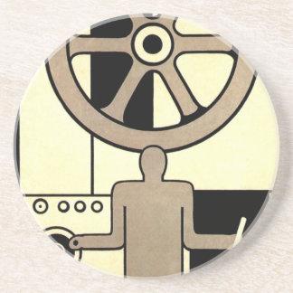 Vintage Art Deco Business, Machine Worker Wheels Coasters