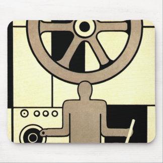 Vintage Art Deco Business, Machine Worker Wheels Mouse Pad