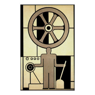 Vintage Art Deco Business, Machine Worker Wheels Posters