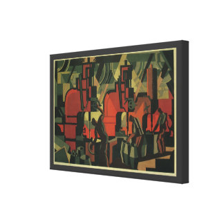 Vintage Art Deco Business, Manufacturing Workers Stretched Canvas Prints