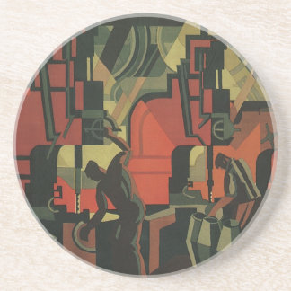Vintage Art Deco Business, Manufacturing Workers Drink Coasters