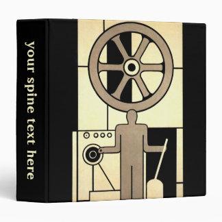 Vintage Art Deco Business Wheel and Machine Worker Binder