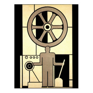 Vintage Art Deco Business Wheel and Machine Worker Postcard