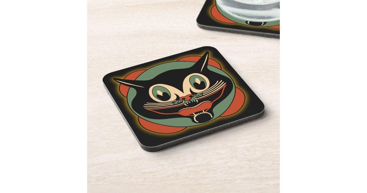 Vintage art deco cat set of 6 coasters zazzle for Deco 6 brumath