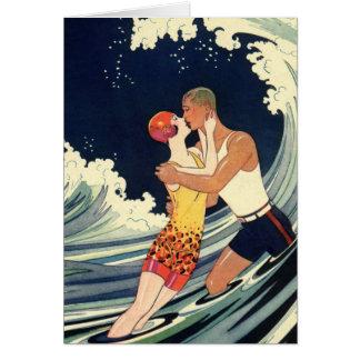 Vintage Art Deco Christmas, Love and Romance Wave Card