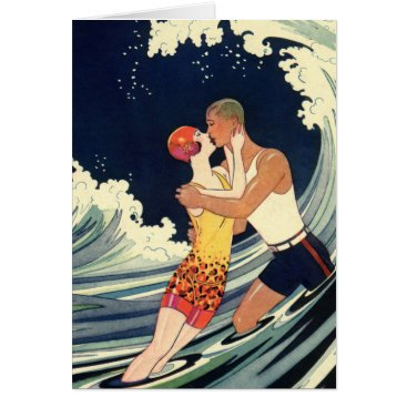 Christmas Themed Vintage Art Deco Christmas, Love and Romance Wave Card