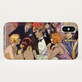 Vintage Art Deco Cocktail Party at Nightclub iPhone X Case