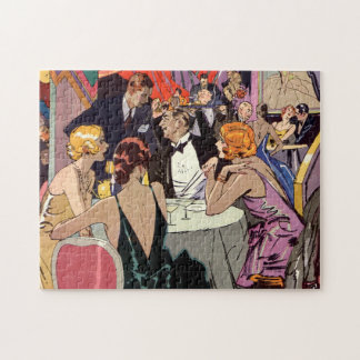 Vintage Art Deco Cocktail Party at Nightclub Jigsaw Puzzle
