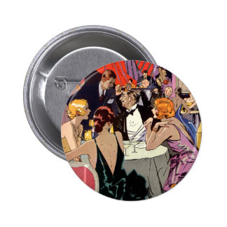 Vintage Art Deco Cocktail Party at Nightclub Pinback Button