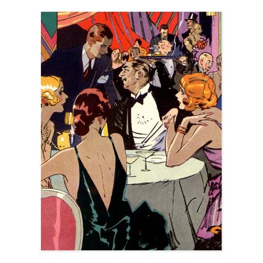 Vintage Art Deco Cocktail Party at Nightclub Postcard