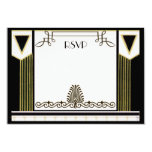 Vintage Art Deco Couple Formal Wedding RSVP Custom Invites
