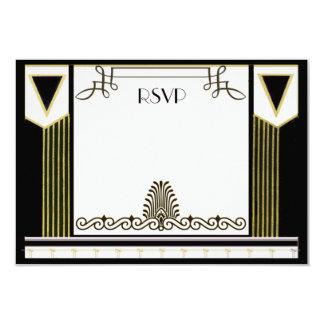 Vintage Art Deco Couple Formal Wedding RSVP 3.5x5 Paper Invitation Card