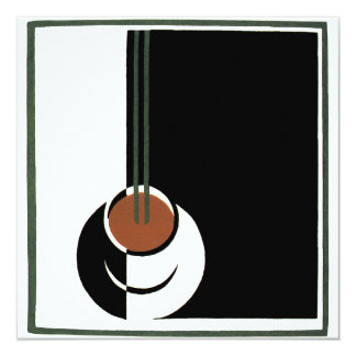 Vintage Art Deco, Cup of Coffee Invititation Card