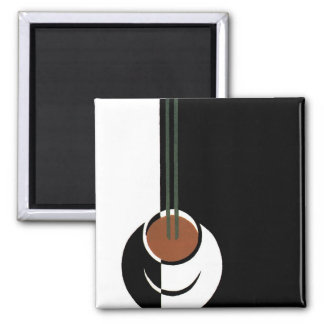 Vintage Art Deco, Cup of Coffee with Steam 2 Inch Square Magnet