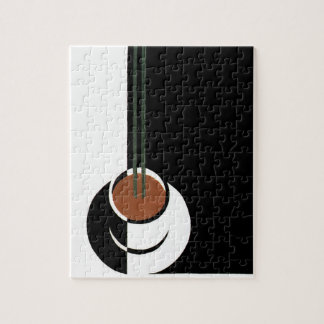 Vintage Art Deco, Cup of Coffee with Steam Jigsaw Puzzle