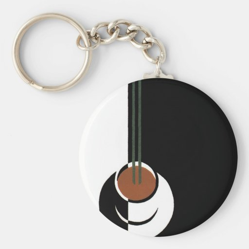 Vintage Art Deco Cup of Coffee with Steam Key Chain