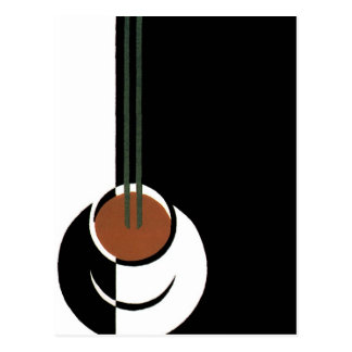 Vintage Art Deco, Cup of Coffee with Steam Postcard