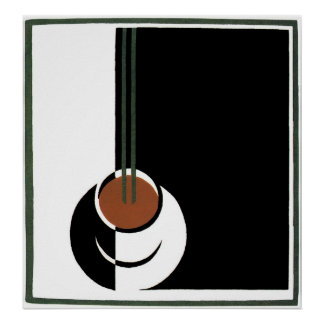 Vintage Art Deco, Cup of Coffee with Steam Poster