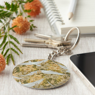 Vintage Art Deco Doves and Flowers Keychain