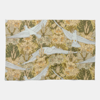 Vintage Art Deco Doves and Flowers Towel