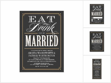 Vintage Eat Drink and Be Married Wedding Invitations Set
