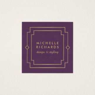 Vintage Art Deco Elegant Gold/Purple Linen Square Business Card