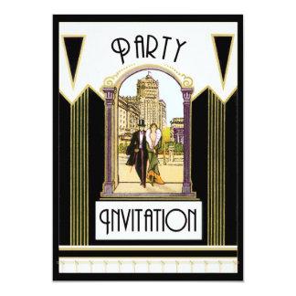 Vintage Art Deco Engagement Cocktail Party 5x7 Paper Invitation Card