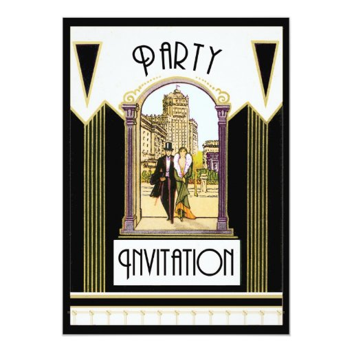 Vintage Art Deco Engagement Cocktail Party Invitations