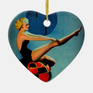 Vintage Art Deco Era Gil Elvgren Pin Up Girl Ceramic Ornament