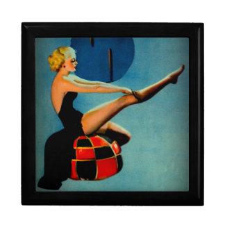 Vintage Art Deco Era Gil Elvgren Pin Up Girl Jewelry Box