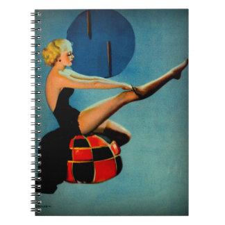 Vintage Art Deco Era Gil Elvgren Pin Up Girl Notebook
