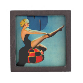 Vintage Art Deco Era Gil Elvgren Pin Up Girl Premium Keepsake Box