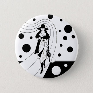 Vintage Art Deco Fashion Diva Woman Polka Dots Button
