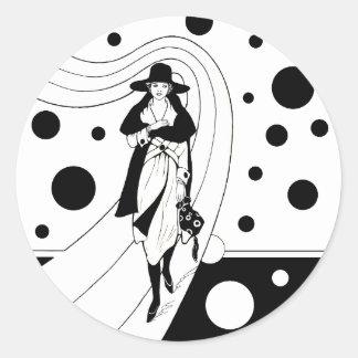 Vintage Art Deco Fashion Diva Woman Polka Dots Classic Round Sticker