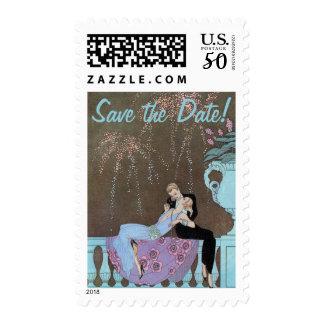 Vintage Art Deco Fireworks Kiss Save the Date Postage